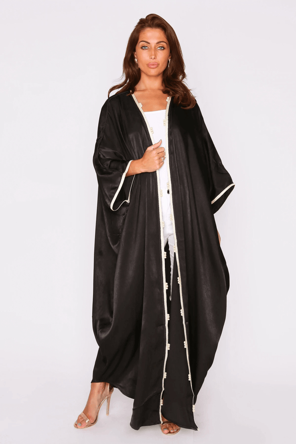 Tamaris Lightweight Contrast Trim Long Sleeve Satin Cape Duster Jacket in Black