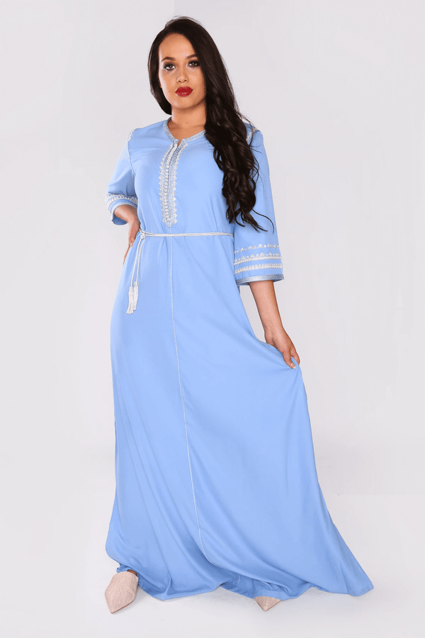 Lebssa Lucrece Occasion Wear Cropped Sleeve Full-Length Evening Dress with Belt in Blue