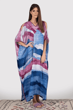 Kaftan Yolanda Cold Shoulder Cropped Sleeve V-Neck Maxi Dress in Blue and Fuschia Print