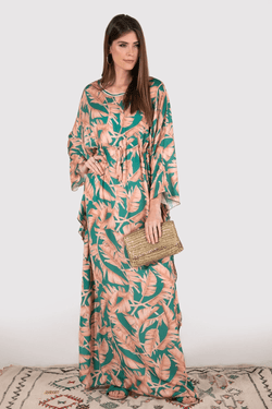 Kaftan Tarzana Adjustable Waist Long Flute Sleeve Maxi Dress in Salmon and Green Print