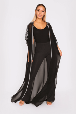Selham Aurora Embroidered Shoulder Short Sleeve Kimono Cape Duster Jacket in Black