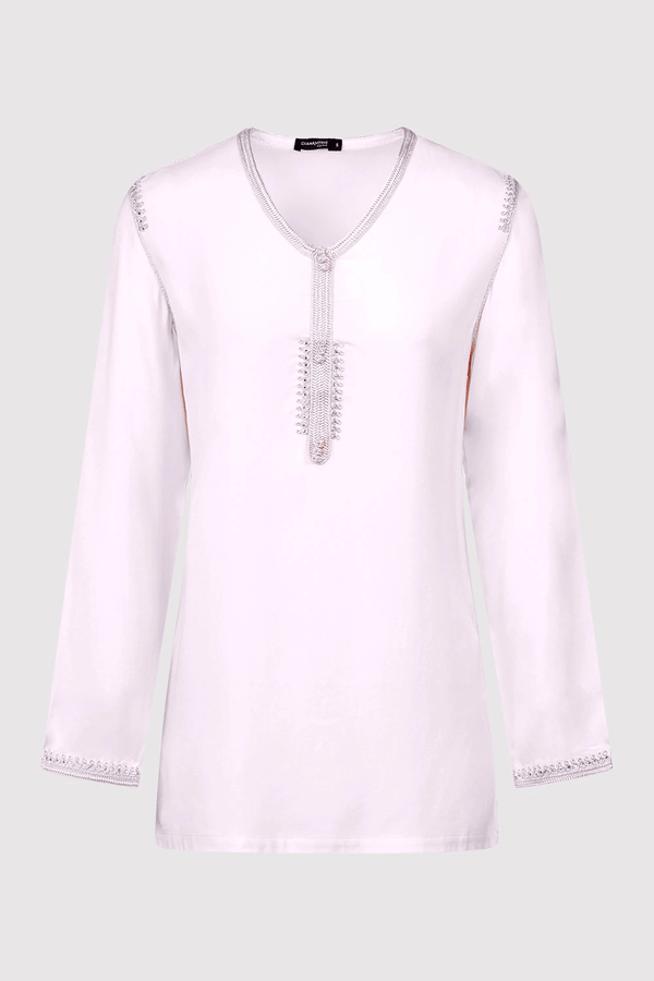 Dream Longline V-Neck Embroidered Shoulder Casual Long Sleeve Top in Pink