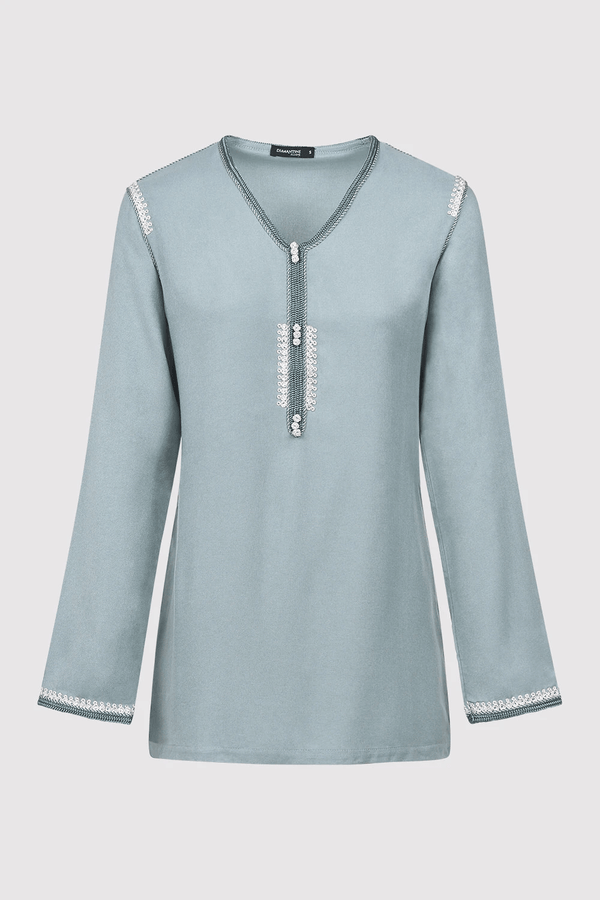 Dream Longline V-Neck Embroidered Shoulder Casual Long Sleeve Top in Blue