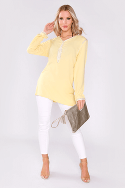 Dream Longline V-Neck Embroidered Shoulder Casual Long Sleeve Top in Yellow