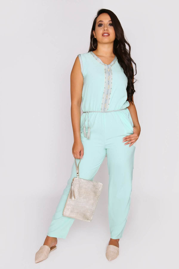 Amazon Sleeveless Full-Length Elastic Waist Jumpsuit in Water Green