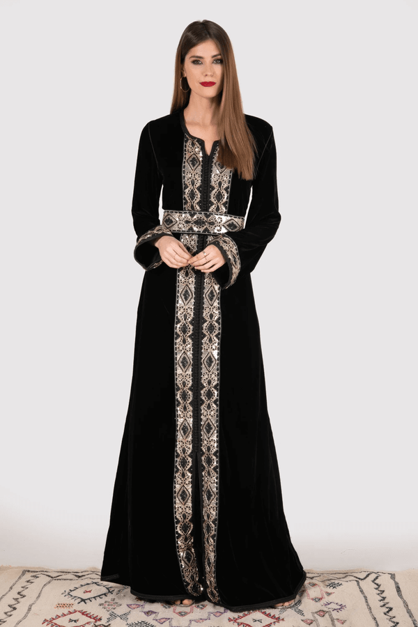 Lebssa Nahid Long Sleeve Formal Occasion Wear Full-Length Embroidered Dress in Black