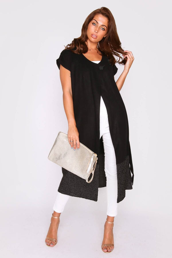 Fidelma Short Sleeve Longline Midi Single Fasten Jacket in Black