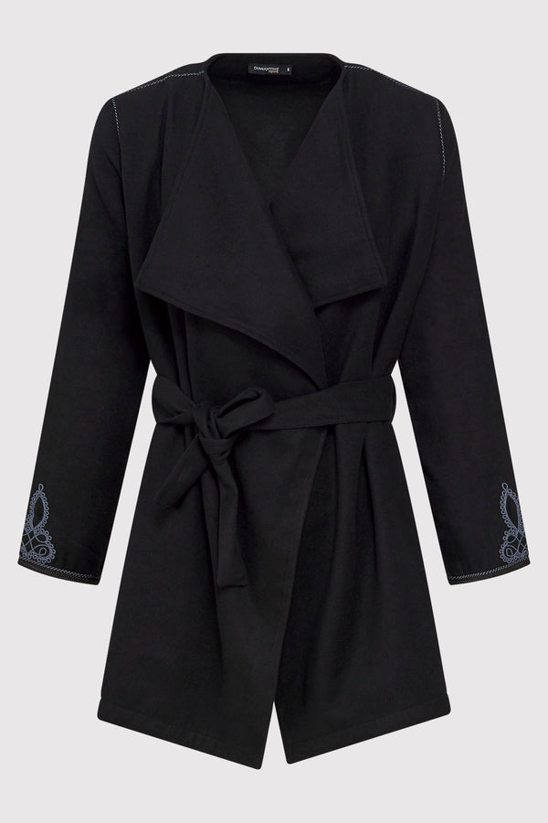 Gloria Waterfall Collar Embroidered Wrap Waist Belted Jacket in Black
