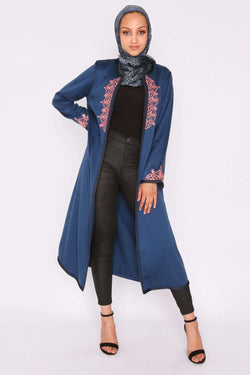 Jawahir Longline Satin Contrast Embroidered Collarless Midi Evening Jacket in Deep Blue