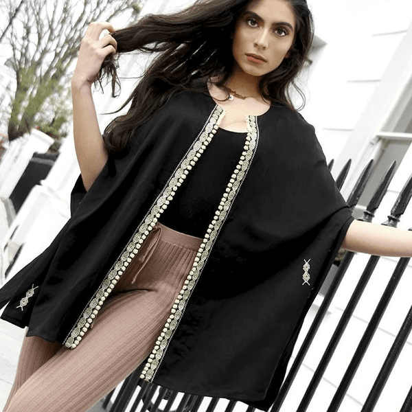 Eline Longline Collarless Embroidered Cape Jacket in Black