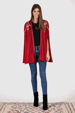 Cleopatre Embroidered Shoulder Longline Cape Jacket in Red Dahlia