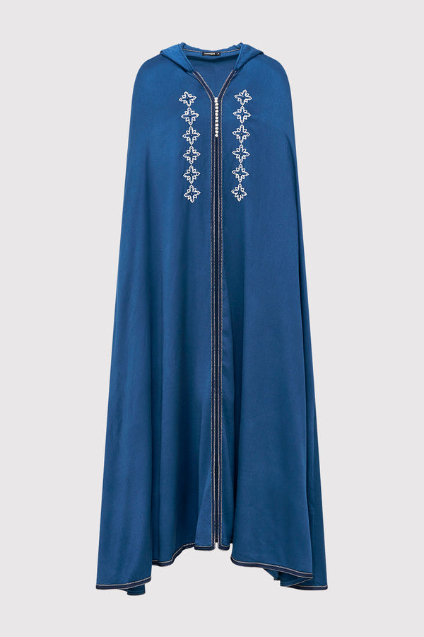 Selham Ismahan Embroidered Full-Length Lightweight Hooded Cape Jacket Cover Up in Navy Blue