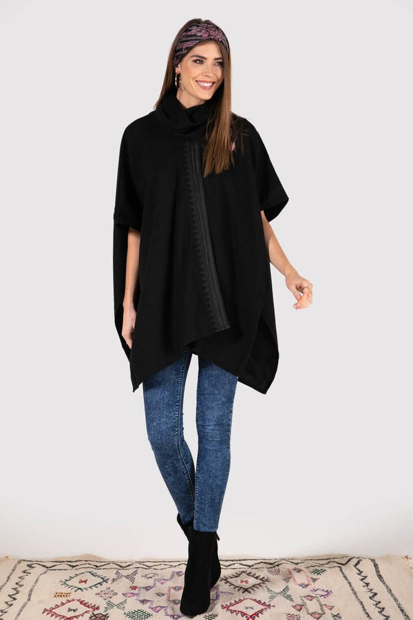 Wijdan Embroidered Longline Cape Jacket in Black