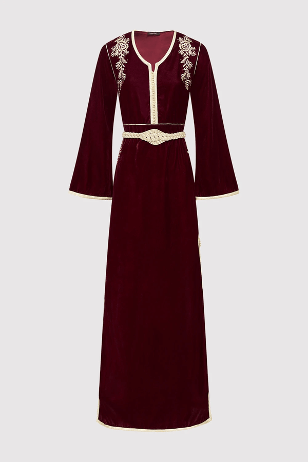 Lebssa Lola Velour Embroidered Occasion Wear Long Dress and Metallic Belt in Burgundy
