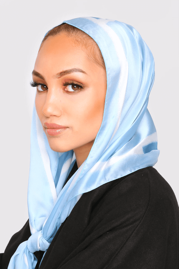 Satin Scarf in Blue & White Print