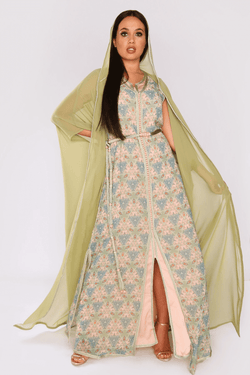 Lebssa Meliha Long Maxi Dress and Hooded Duster Jacket Set with Waist Belt in Green Print