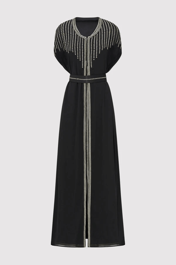 Lebssa Vanessa Short Sleeve Embroidered Long Occasion Wear Maxi Dress and Belt in Black