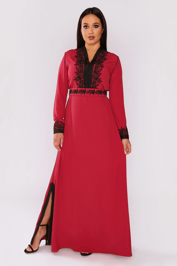 Lebssa Israa Contrast Embroidery Occasion Wear Formal Long Maxi Dress and Belt in Raspberry