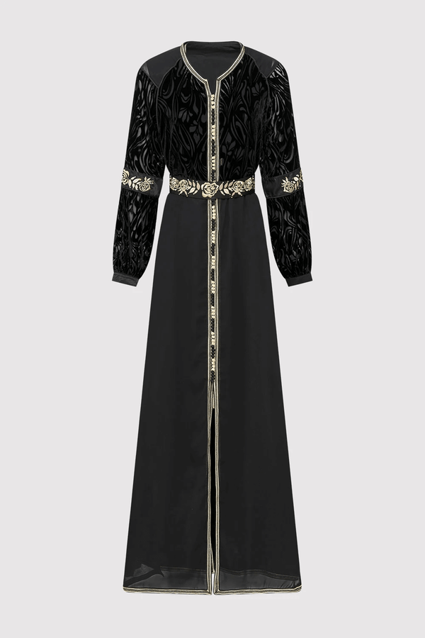 Lebssa Edwige Special Occasion Formal Long Dress with Sheer Velour Sleeves and Belt in Black