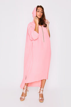 Djellaba Jamilata Long Sleeve Hooded High Low Hemline Maxi Dress in Pink