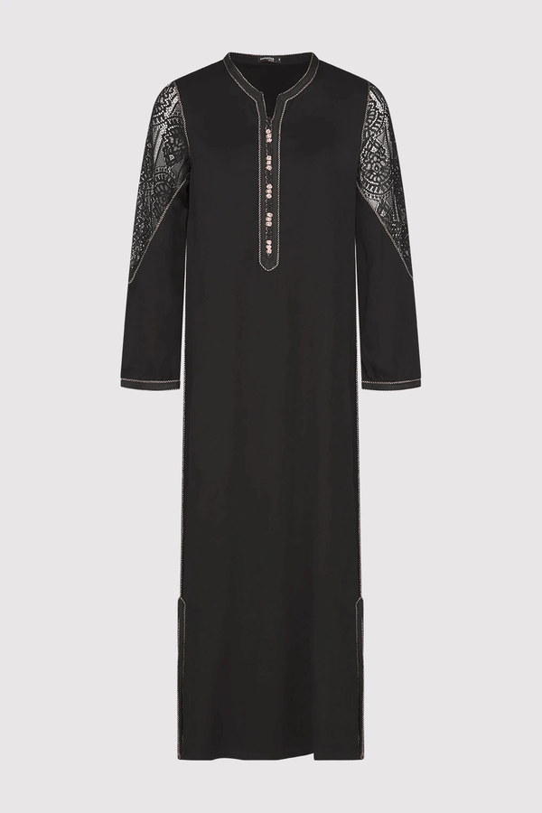 Kmiss Chadia Long Sleeve Maxi Dress with Lace Sleeve in Black