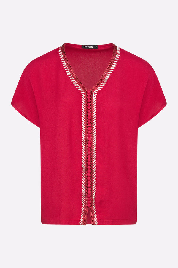 Sabah Short Sleeve V-Neck Embroidered Top in Raspberry