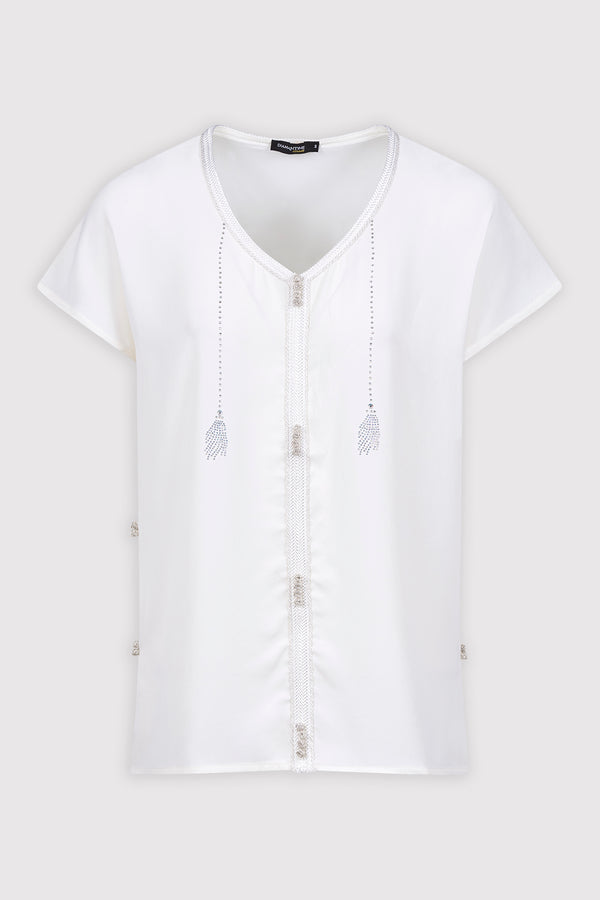 Amira Short Sleeved Casual Embroidered & Crystal Top in White