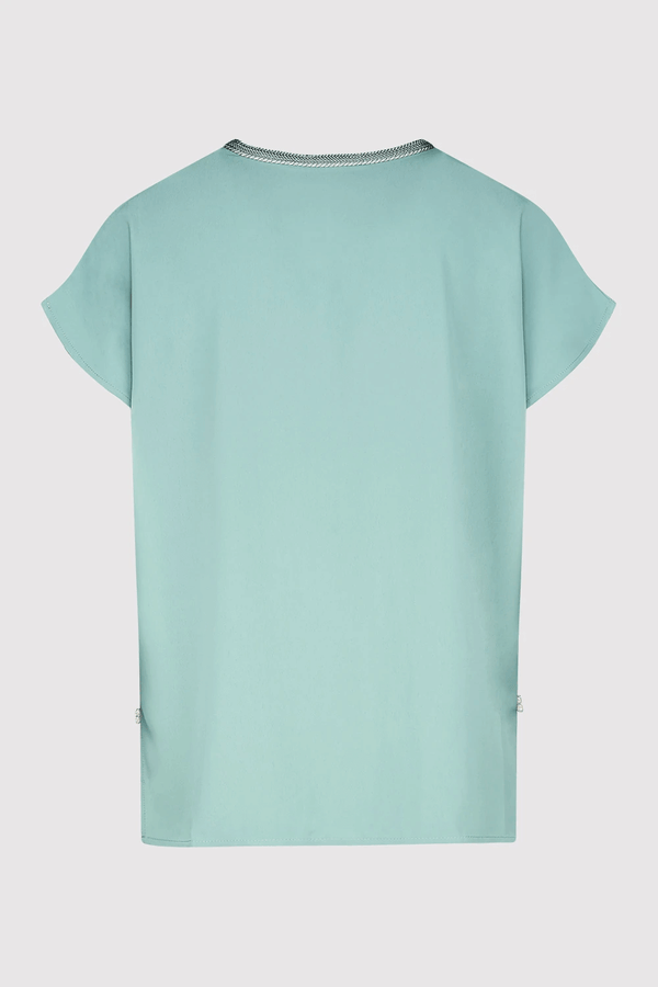 Amira Short Sleeved Casual Embroidered & Crystal Top in Petrol