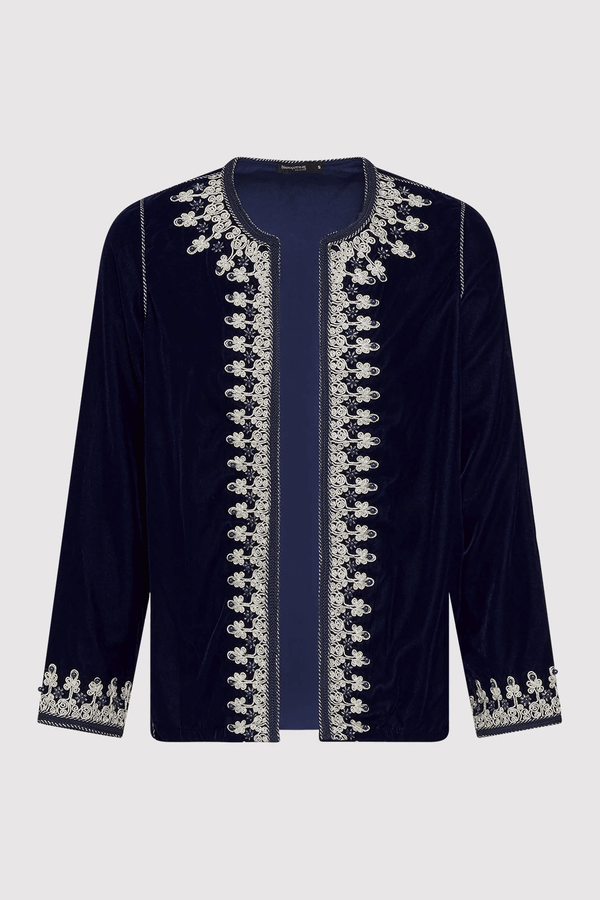 Neyla Velour Embroidered Long Sleeve Tunic Jacket in Marine Blue