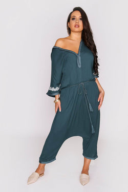 Souad Hooded Cropped Elastic Waist Jumpsuit and Rope Belt in Petrol