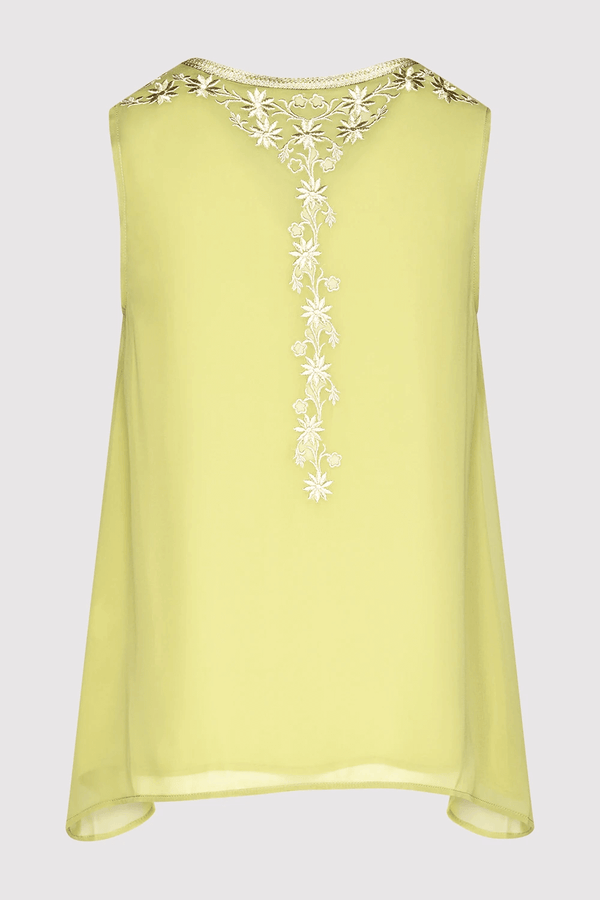 Selena Sleeveless Embroidered V-Neck Longline Assymetric Hem Lightweight Top in Green