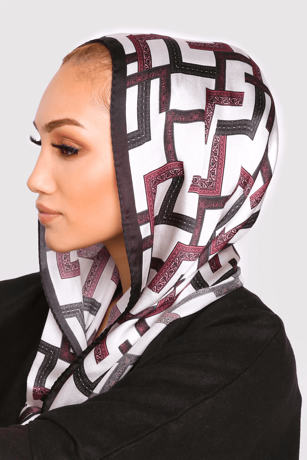 Silk Satin Scarf in Black & Burgundy Print