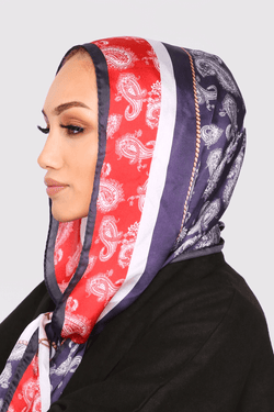 Silk Satin Scarf in Purple & Red Paisley Print