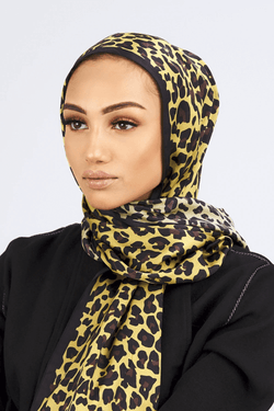 Silk Satin Scarf in Black & Lime Leopard Print