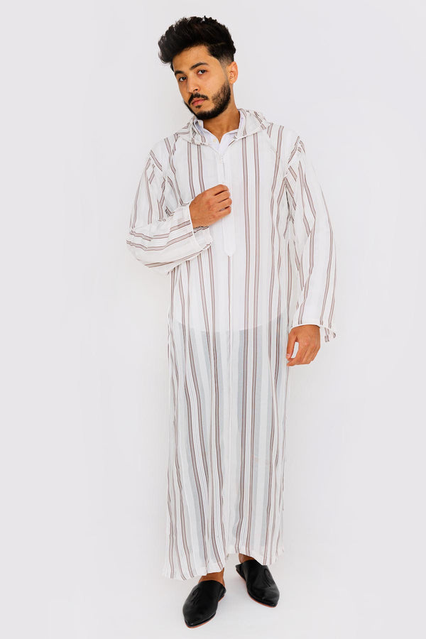 Chahma Men's Hooded Thobe Djellaba in Maroon & White Stripes