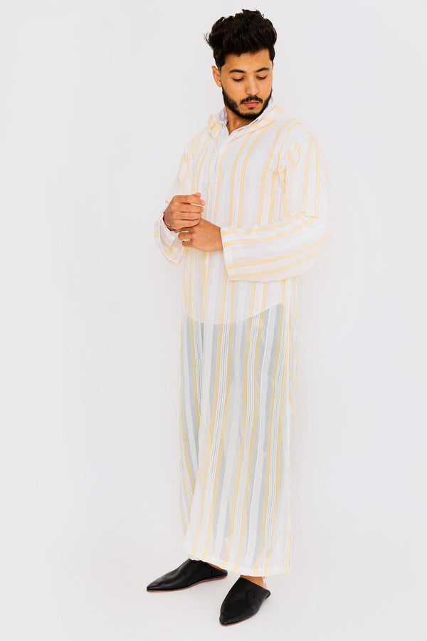 Chahma Men's Hooded Thobe Djellaba in Yellow & White Stripes