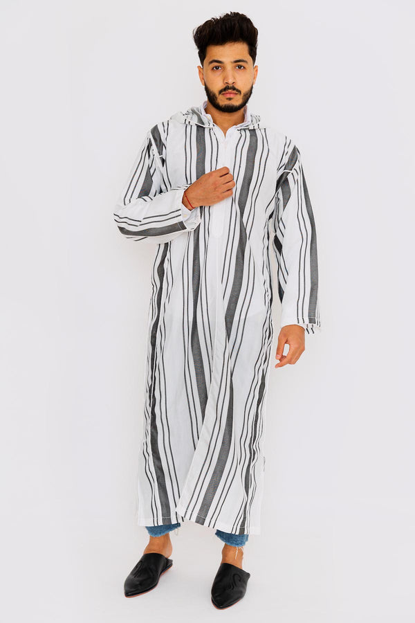 Chahma Men's Hooded Thobe Djellaba in Black & White Stripes