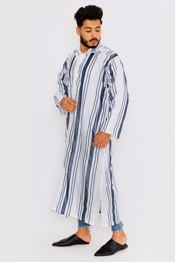 Chahma Men's Hooded Thobe Djellaba in Blue & White Stripes
