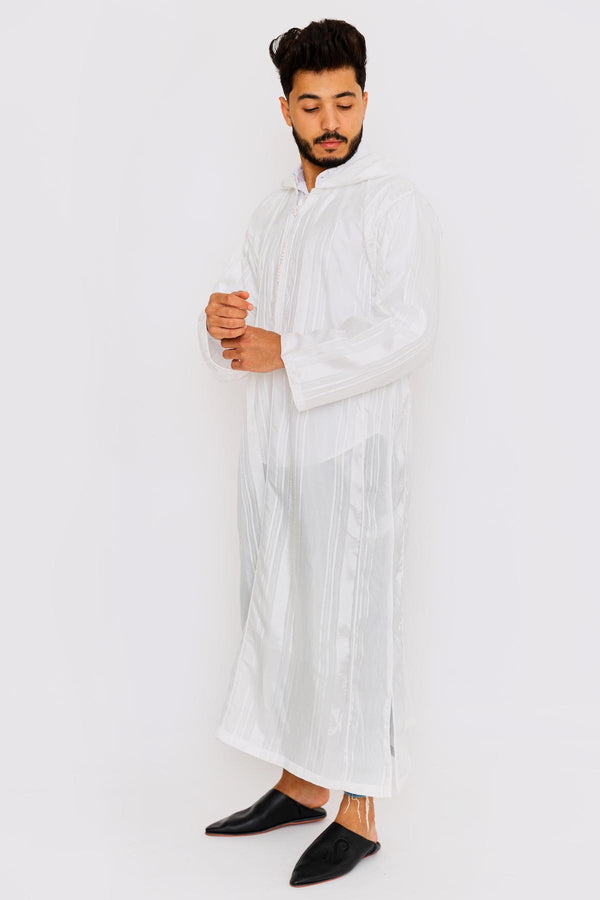 Chahma Men's Hooded Thobe Djellaba in Off-White Stripes