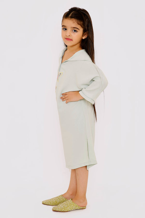 Djellaba Abir Girl's Long Sleeve Hooded Butterfly Kaftan Dress in Light Green