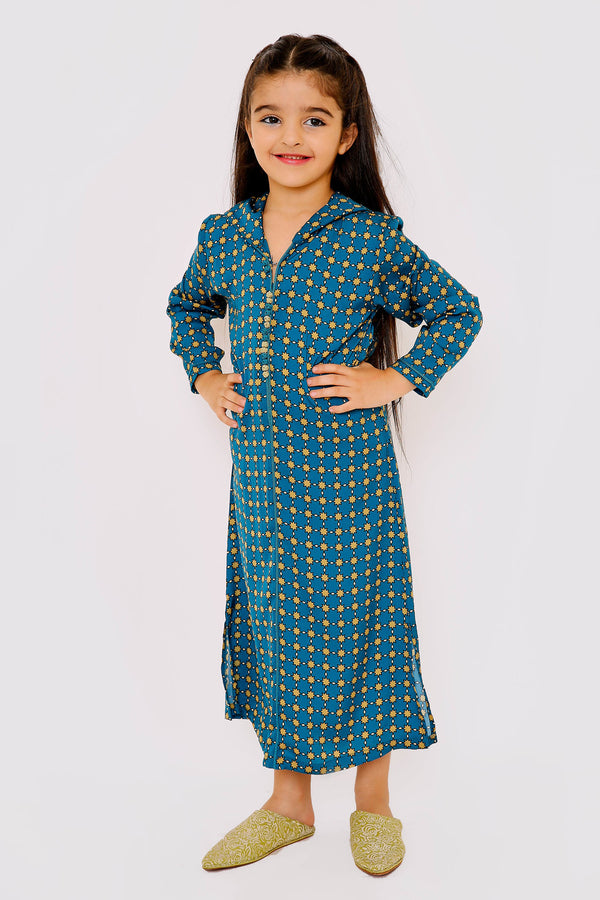 Djellaba Belkis Jr Girl's Long Sleeve Hooded Cropped Kaftan Dress in Teal Print