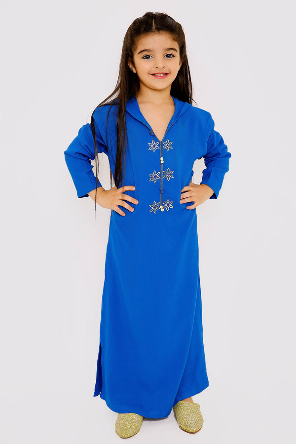 Djellaba Cherifa Girl's Long Sleeve Hooded Maxi Dress Kaftan in Royal Blue