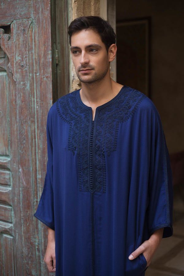 Gandoura Badii Men's Long Robe Long Sleeve thobe in Navy Blue