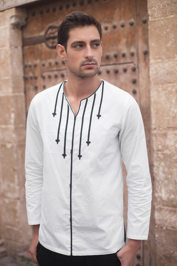 Jabador Ihssane Men's Long Sleeve Collarless Embroidered Shirt in White