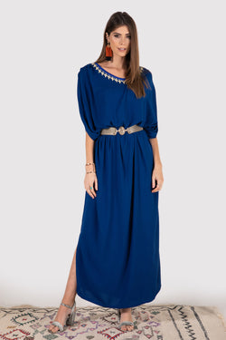 Gandoura Eloise lace-up dress in marine blue - diamantine-uk