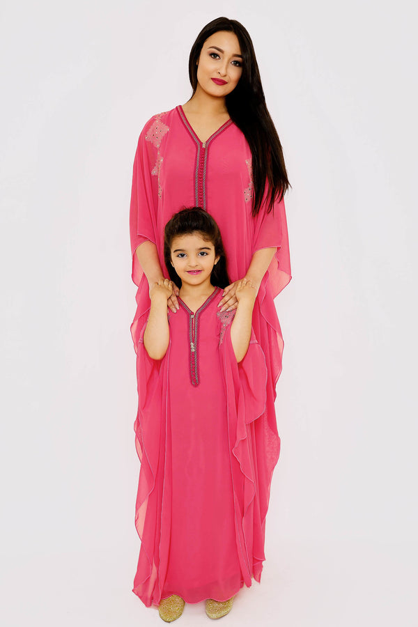 Gandoura Iklil Jr Girl's Long Chiffon Maxi Dress Kaftan in Raspberry