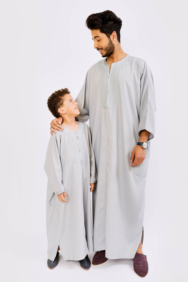 Gandoura Dakir Jr Long Sleeve Full-Length Boy's Thobe in Grey