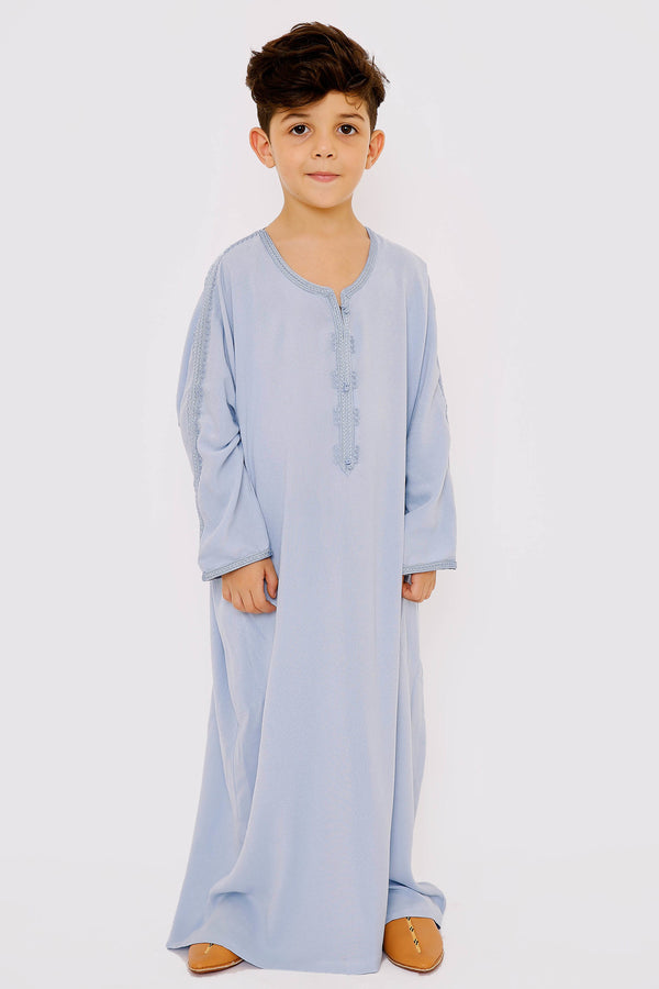 Gandoura Wadii Boy's Long Sleeve Embroidered Long Thobe in Sky Blue