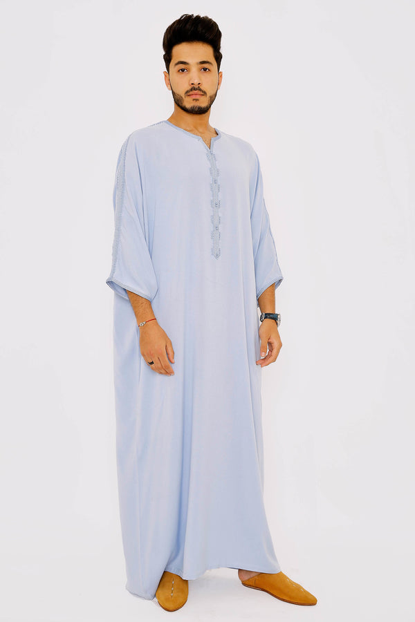 Gandoura Zahir Men's Long Robe Long Sleeve Casual Thobe in Sky Blue