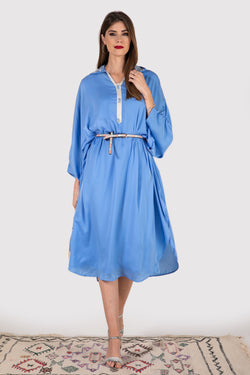Gandoura Elva collared dress in sky blue - diamantine-uk